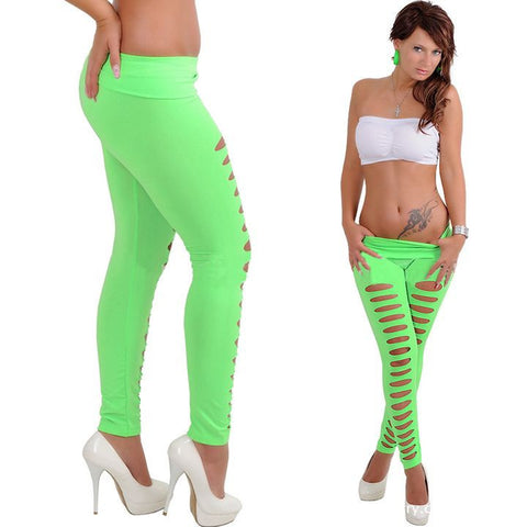 Candy Color Ripped Skinny Leggings - J20Style - 1