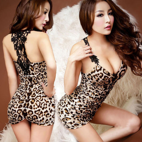 Mini Leopard V-Neck Party Dress - J20Style - 1
