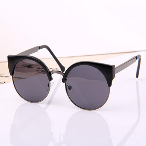 Cat Eye Semi-Rimless Vintage Women Sunglasses