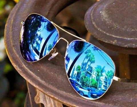 Blue Mirror Silver Aviator Pilot Sunglasses - J20Style - 3