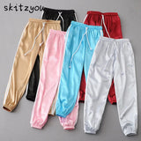 Women Basic Pink Thin Stain Pants