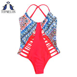 Pink and Blue tropical print One Piece Swimsuit