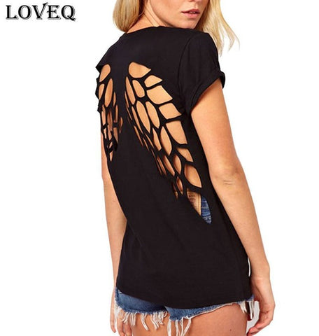 Angel Wings Backless TShirt