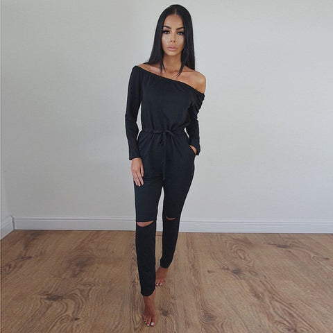 Off Shoulder Long Sleeve Jumpsuit Romper