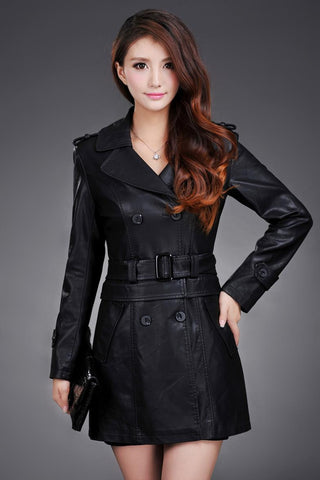 Long Leather Trench Coat Female