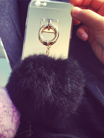 Rabbit Fur Ball Tassel Mirror Case For iPhone 6 6S 7 Plus
