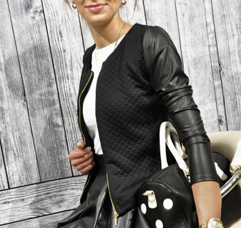 Long Sleeve Stylish Patchwork Baseball Women Jacket