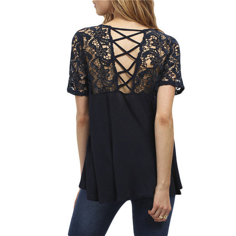 Cut Out Crochet Short Sleeve Round Neck Blouse
