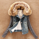 Denim jacket furs collar Wool Bomber Jacket for women