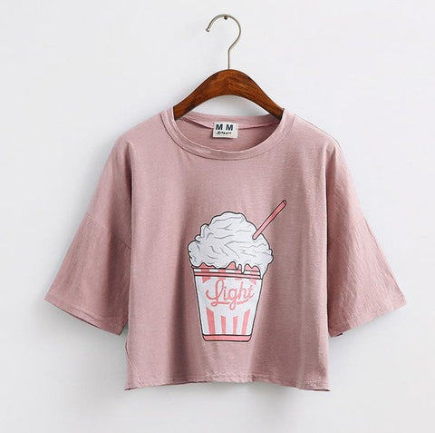 Korean style cotton loose crop tops kawaii t-shirt
