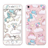 Cute Cherry Blossom Glitter Silicone iPhone Case Cover + Full Cover Screen Protector