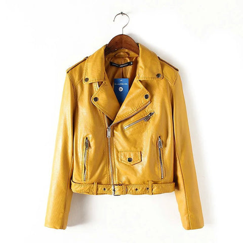 The Wind Zipper Bright New Ladies Leather Coat Jacket Women