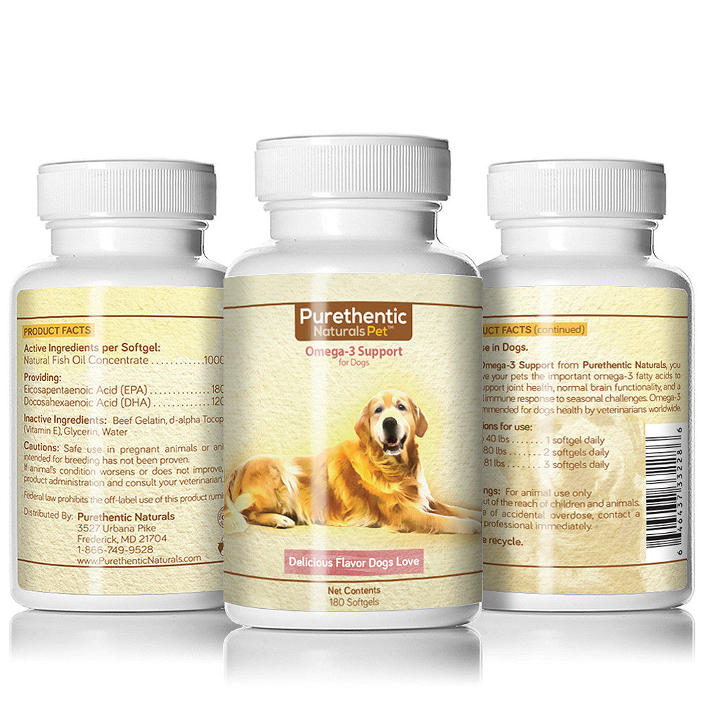 Omega 3 for Dogs, Fish Oil for Dogs 180 Capsules w/ Pure Natural Fatty Acids Dogs Love.
