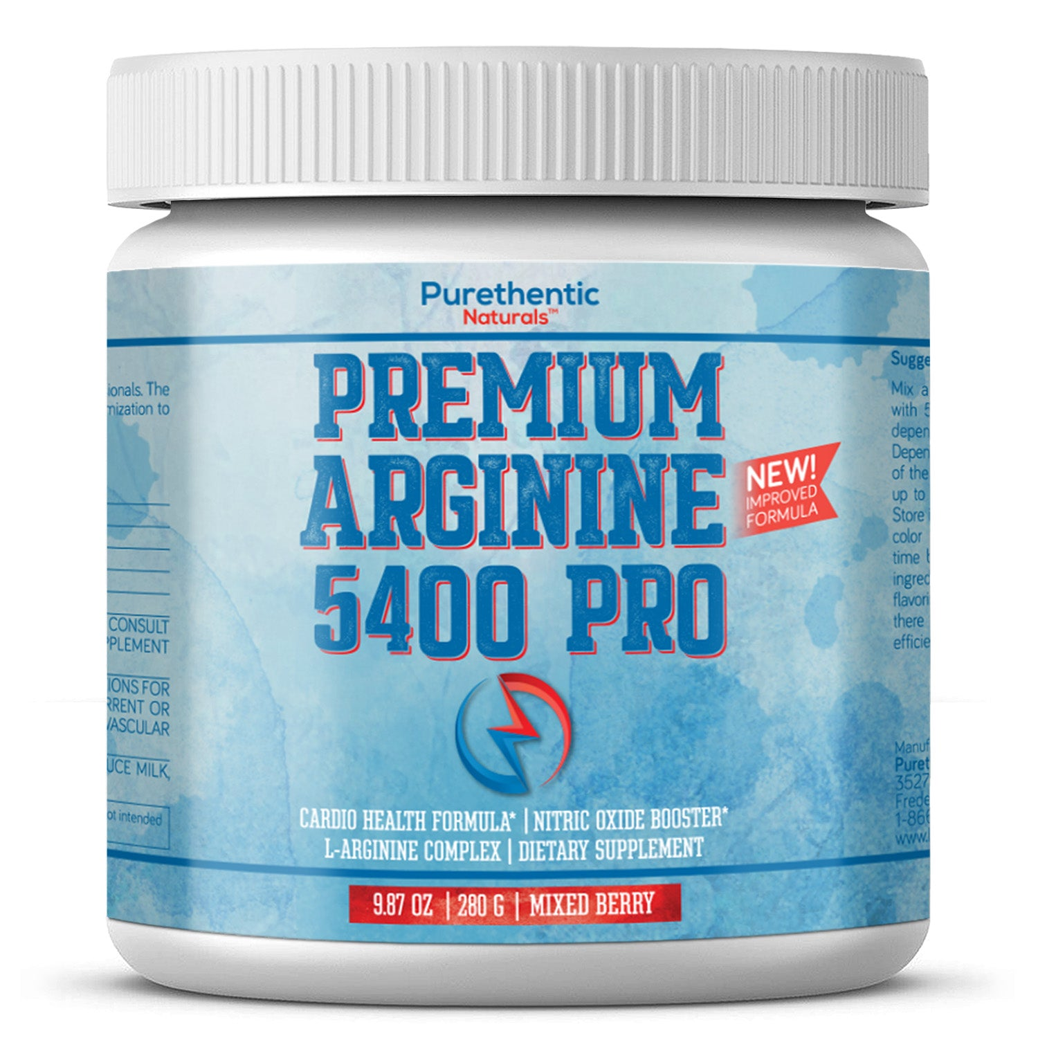L­ Arginine Powder 5400mg — Nitric Oxide Powder - Citrulline 1000mg - Purethentic Naturals Arginine 5400 Pro