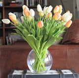 luxury artificial orange and white tulips