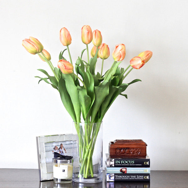 Artificial flowers luxury faux orange tulip lifelike realistic faux flowers buy online from Amaranthine Blooms UK