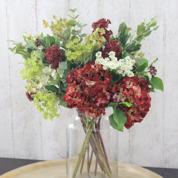 Artificial flowers luxury faux silk red hydrangea bouquet lifelike realistic faux flowers buy online from Amaranthine Blooms UK autumnal aura