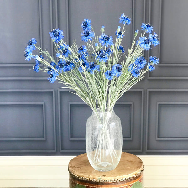 Artificial flowers luxury silk blue cornflower realistic faux flower arrangement Amaranthine Blooms UK