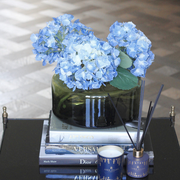 Artificial flowers luxury faux silk blue lacecap hydrangea lifelike realistic faux flowers buy online from Amaranthine Blooms UK