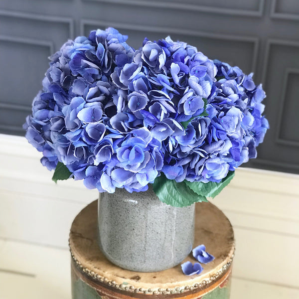 Artificial flowers blue silk hydrangea lifelike realistic flower arrangement Amaranthine Blooms UK