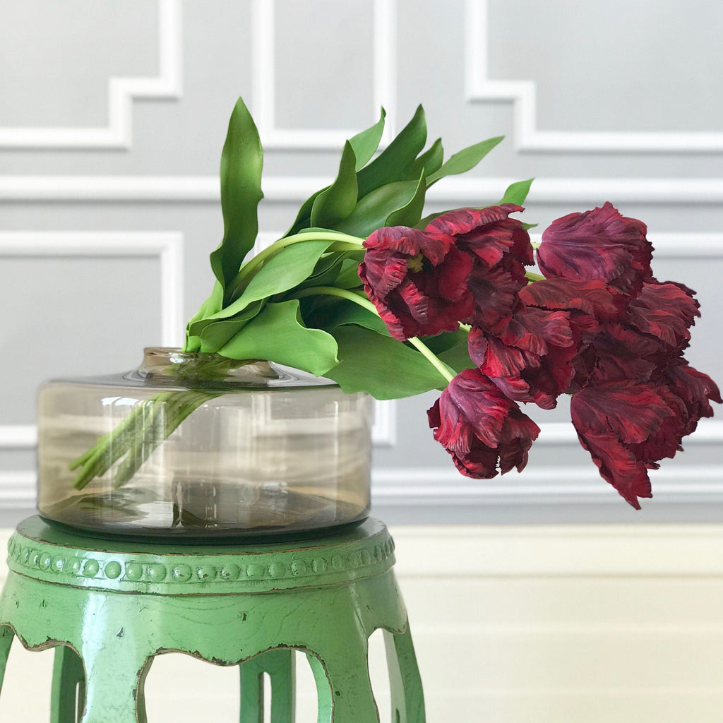 Artificial flowers luxury silk burgundy red parrot tulip lifelike realistic faux flower arrangement Amaranthine Blooms UK