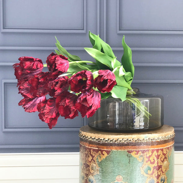 Artificial flowers luxury faux silk burgundy parrot tulip realistic faux flowers buy online from Amaranthine Blooms UK