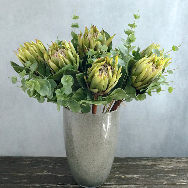 Artificial flowers luxury faux silk green and burgundy king protea lifelike realistic faux flowers buy online from Amaranthine Blooms UK