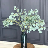 Artificial flowers luxury silk green eucalyptus with berries realistic faux flower arrangement Amaranthine Blooms UK