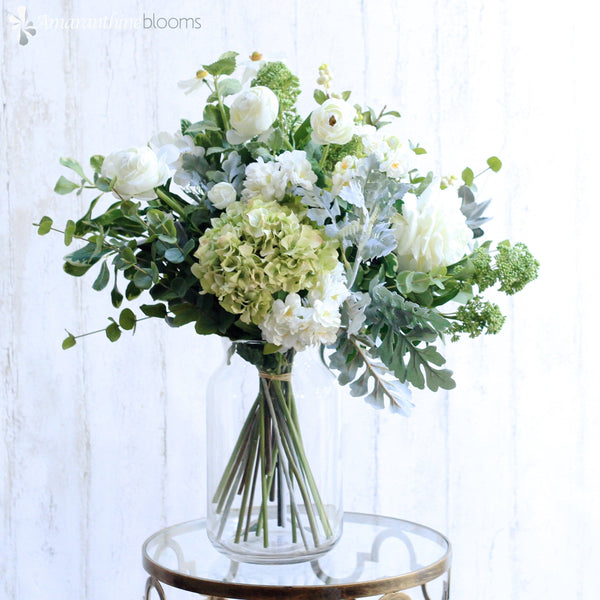Artificial flowers luxury faux silk lifelike green pastures bouquet realistic faux flowers buy online from amaranthine blooms UK