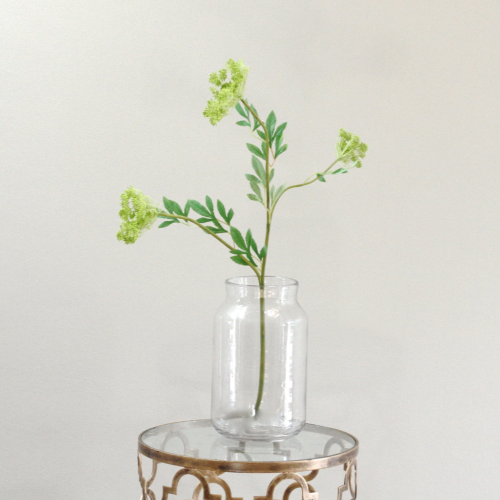 luxury clear funnel neck vase with lifelike realistic faux flowers buy online from Amaranthine Blooms UK
