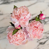Artificial flowers luxury faux silk pale pink open peony bouquet lifelike realistic faux flowers buy online from Amaranthine Blooms UK