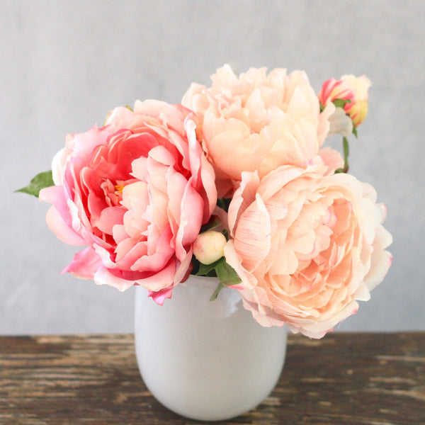 pink and pale pink peony + vase