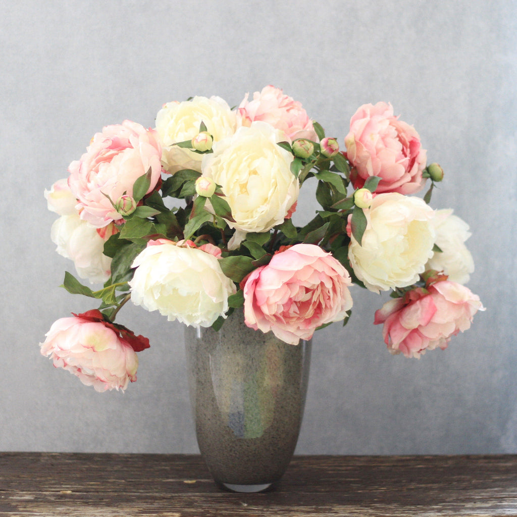 Artificial flowers luxury faux silk pink and white peony bouquet lifelike realistic faux flowers buy online from Amaranthine Blooms UK