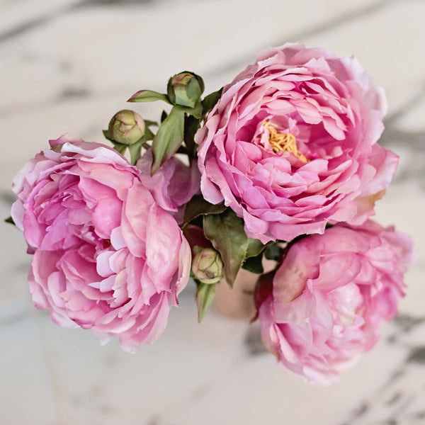 Artificial flowers luxury faux silk pink classic peony bouquet lifelike realistic faux flowers buy online from Amaranthine Blooms UK