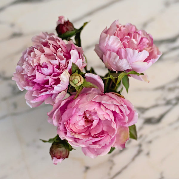 Artificial flowers luxury faux silk pink open peony lifelike realistic faux flowers buy online from Amaranthine Blooms UK