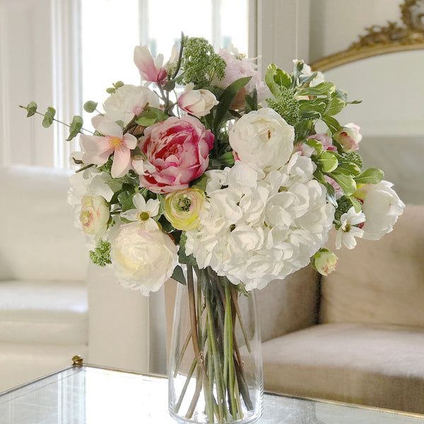 Artificial flowers luxury faux silk pink peony white hydrangea bouquet lifelike realistic faux flowers buy online from Amaranthine Blooms UK