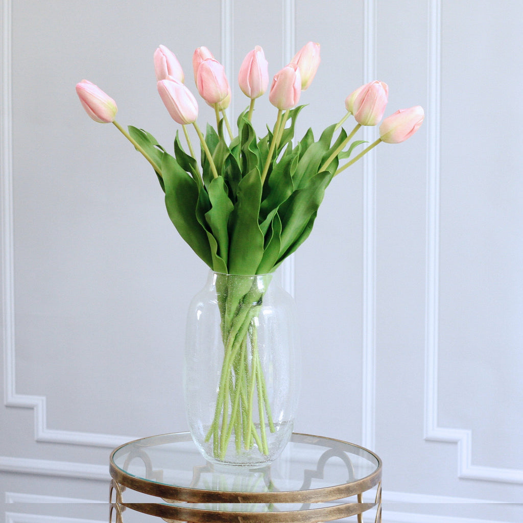 Artificial flowers luxury faux silk pink perfect tulip lifelike realistic faux flowers buy online from Amaranthine Blooms UK