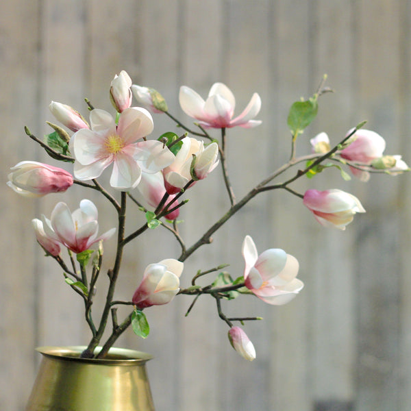 Artificial flowers luxury faux silk pink tall magnolia branch lifelike realistic faux flowers buy online from Amaranthine Blooms UK