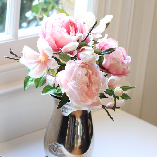 Artificial flowers luxury faux silk pink tall magnolia branch pale pink peony bouquet lifelike realistic faux flowers buy online from Amaranthine Blooms UK