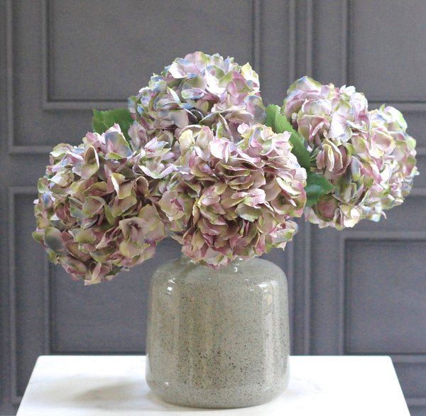 Artificial flowers luxury faux silk purple late season mophead hydrangea lifelike realistic faux flowers buy online from Amaranthine Blooms UK