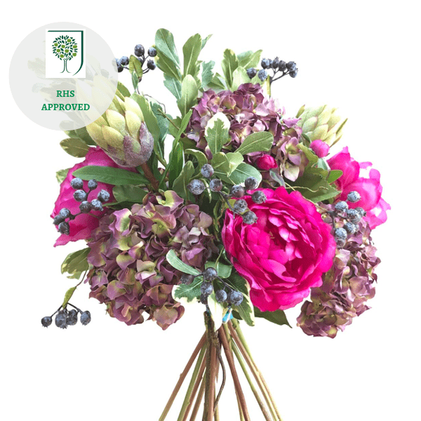 Artificial flowers luxury faux silk purple peony hydrangea protea bouquet lifelike realistic faux flowers buy online from Amaranthine Blooms UK