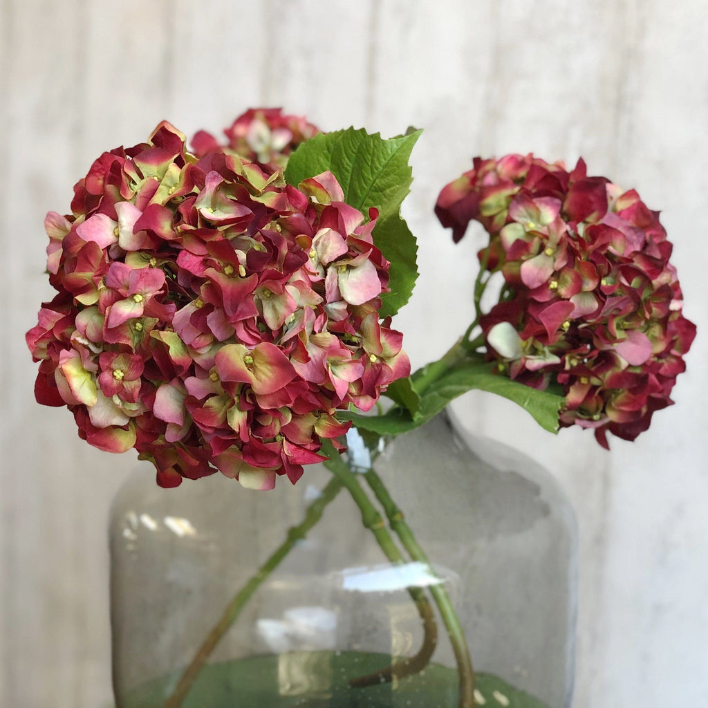 Artificial flowers luxury faux silk red dried hydrangea lifelike realistic faux flowers buy online from Amaranthine Blooms UK