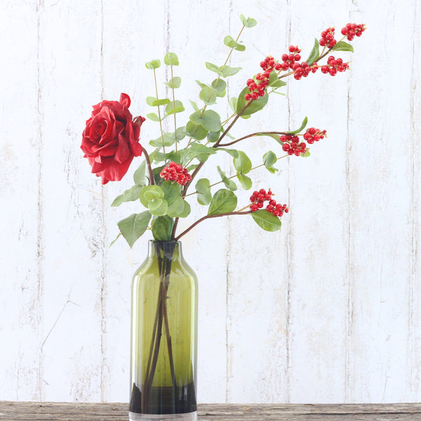 Artificial flowers luxury faux silk red shiny berries lifelike realistic faux flowers buy online from Amaranthine Blooms UK