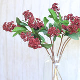 Artificial flowers luxury faux silk red skimmia lifelike realistic faux flowers buy online from Amaranthine Blooms UK