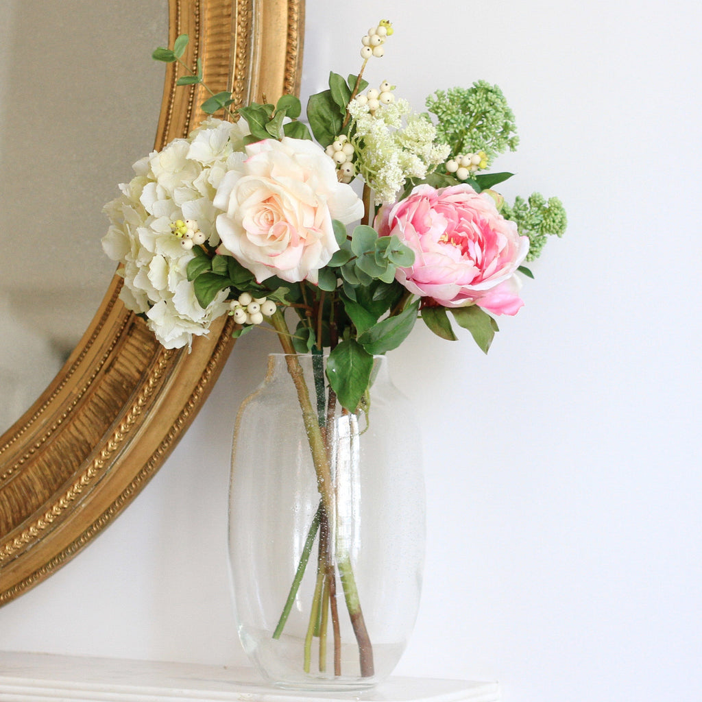 Artificial flowers luxury faux silk strawberries and cream small bouquet with vase lifelike realistic faux flowers buy online from Amaranthine Blooms UK