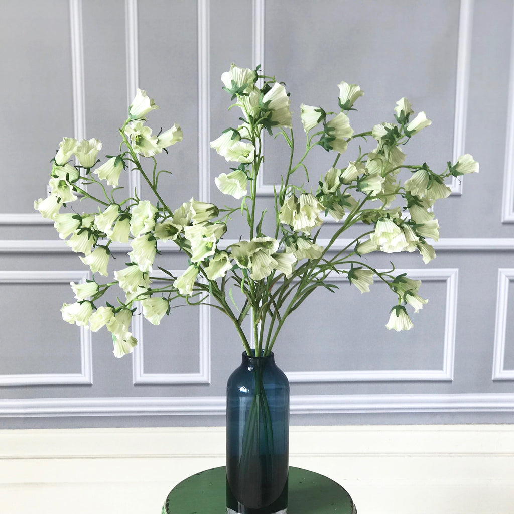 Artificial flowers luxury faux silk white Canterbury bells realistic faux flowers buy online from Amaranthine Blooms UK