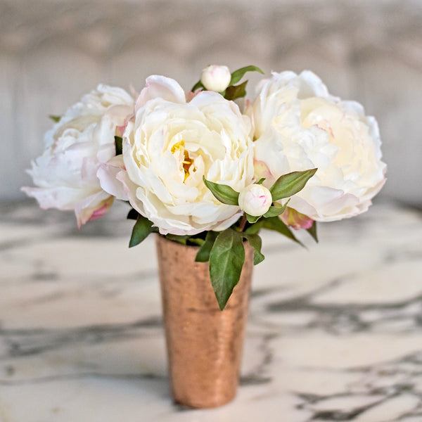 Artificial flowers luxury faux silk white classic peony bouquet lifelike realistic faux flowers buy online from Amaranthine Blooms UK