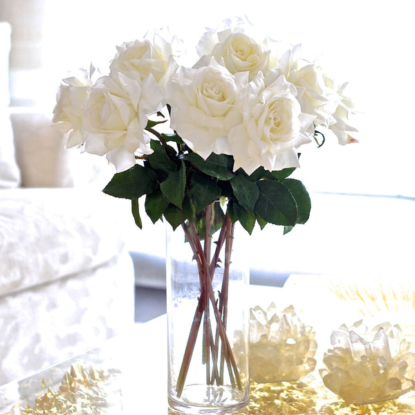Artificial flowers luxury faux silk white hybrid tea roses lifelike realistic faux flowers buy online from Amaranthine Blooms UK