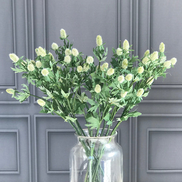 Artificial flowers luxury faux silk white sea holly realistic faux flowers buy online from Amaranthine Blooms UK