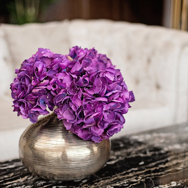 Artificial flowers luxury faux purple bright hydrangea lifelike realistic faux flowers buy online from Amaranthine Blooms UK